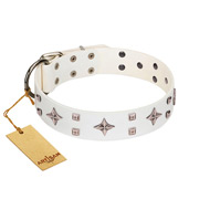 """The Milky Way"" FDT Artisan White Leather Doberman Collar Adorned with Stars and Tiny Squares"