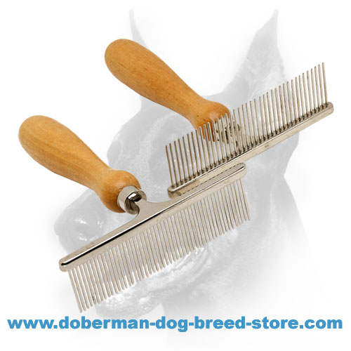 Doberman dog Metal Chrome Plated Brushes for Everyday Grooming