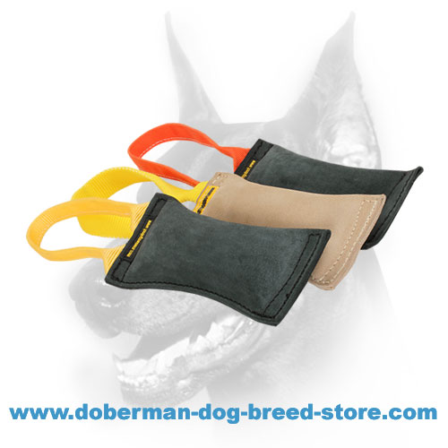 Doberman breed Leather Bite Tug with dog-friendly stuffing material