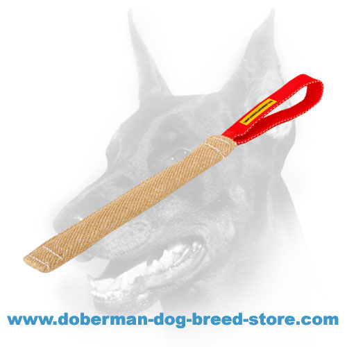 Doberman Dog good training tug made of jute