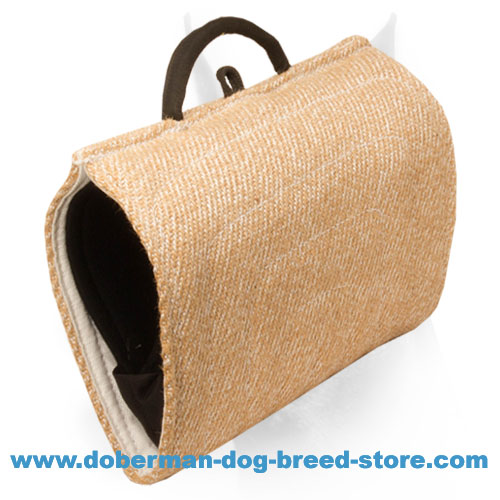 Doberman dog training bite builder with firmly stitched outside handle
