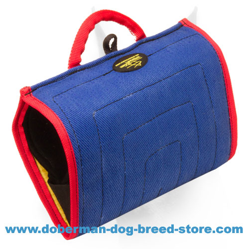 Doberman dog training bite builder with hidden handle and top handle