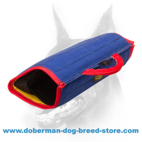Doberman dog bite builder with replaceable cover