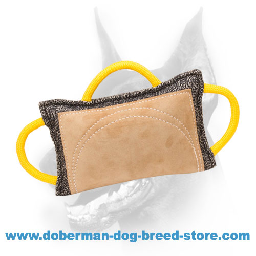 Doberman Dog french linen pad with leather bite area surface