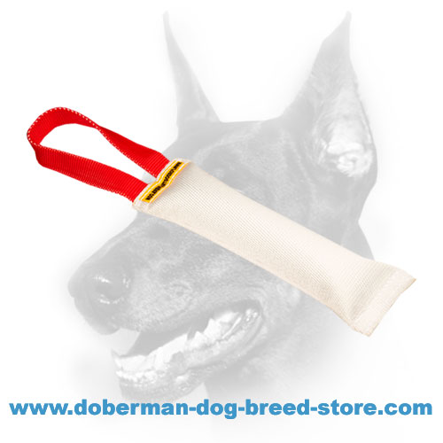 Doberman dog safe Bite Tug with safe stuffing
