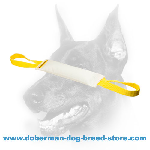 Doberman dog training tug made of durable tear-resistant material