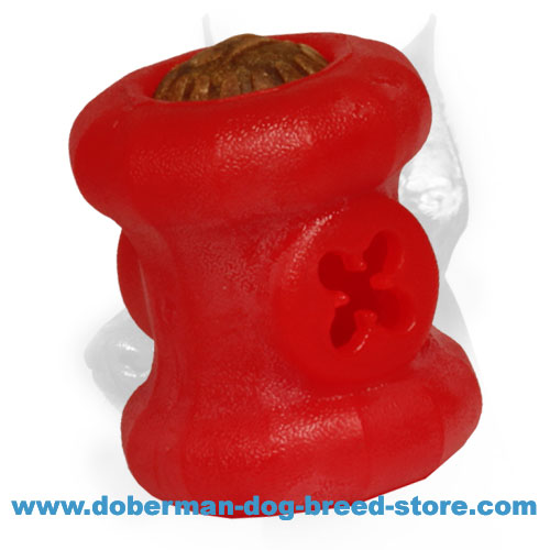 Doberman dog super durable foam toy with hole for treats