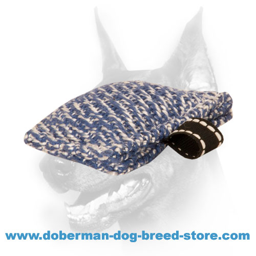 Doberman Dog training tug made of tough french linen