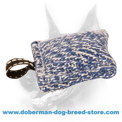 Doberman dog french linen tug for biting skills developing