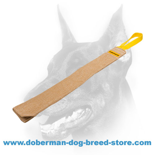 Doberman Dog jute rag equipped with convenient handle