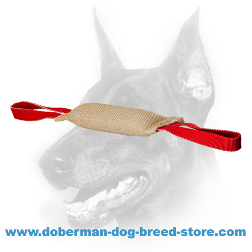 Doberman Dog jute tug firmly stitched for longevity
