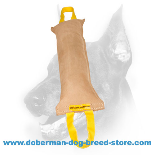 Doberman Dog big training tug made of durable thick pure leather