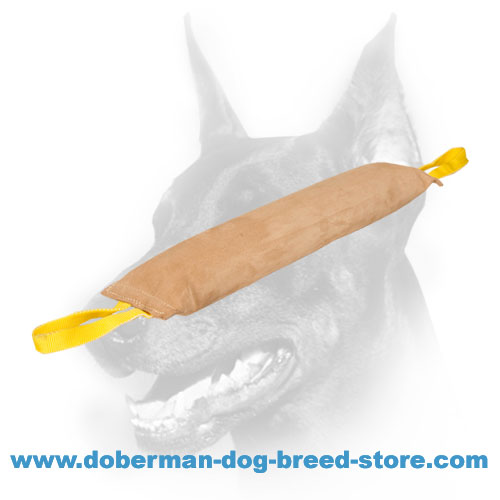Doberman dog Leather Bite Tug with dog-safe stuffing