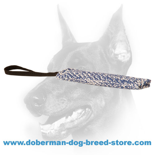 Doberman Dog training tug made of durable french linen