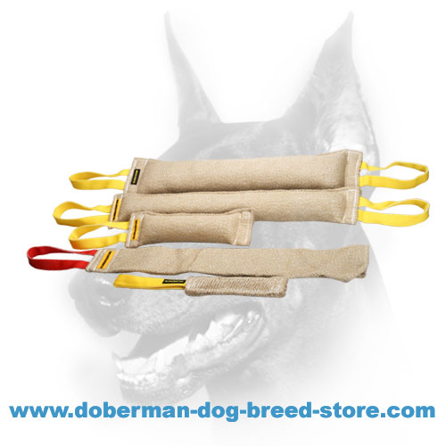 Doberman Dog jute tugs and rag with convenient handles