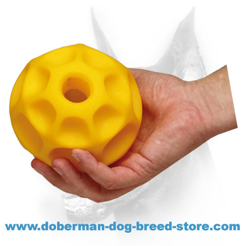 Doberman dog durable ball with honeycomb texture