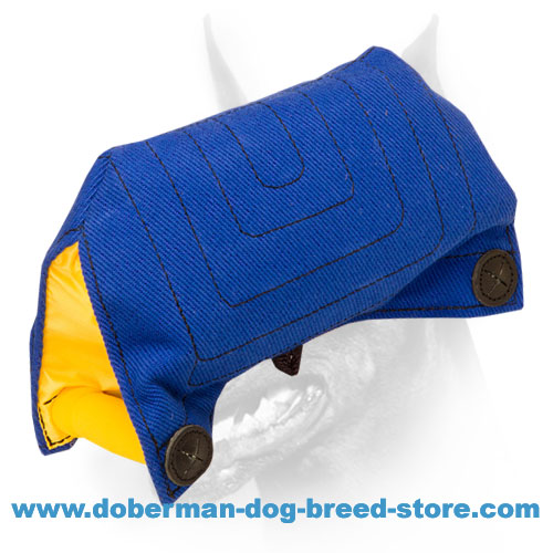 Doberman dog bite builder of strong french linen material