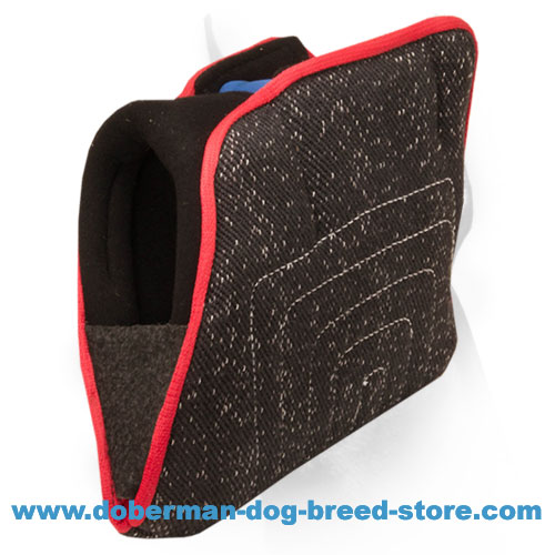 Doberman dog training bite builder with hidden handles