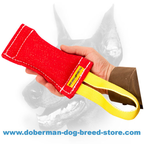 Doberman puppy french linen bite tug with comfy handle