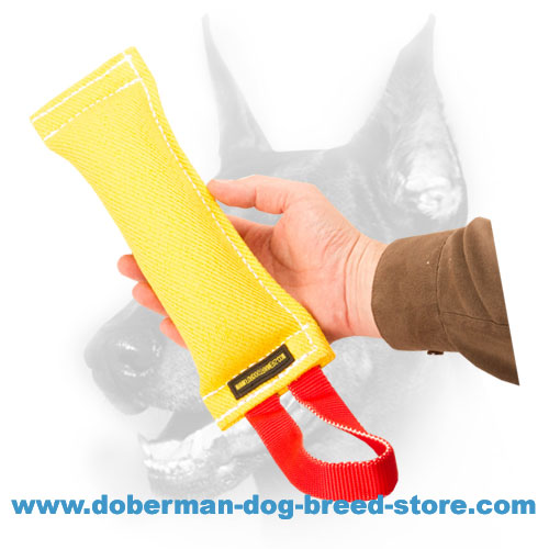 Doberman puppy french linen bite tug with easy-grip handle