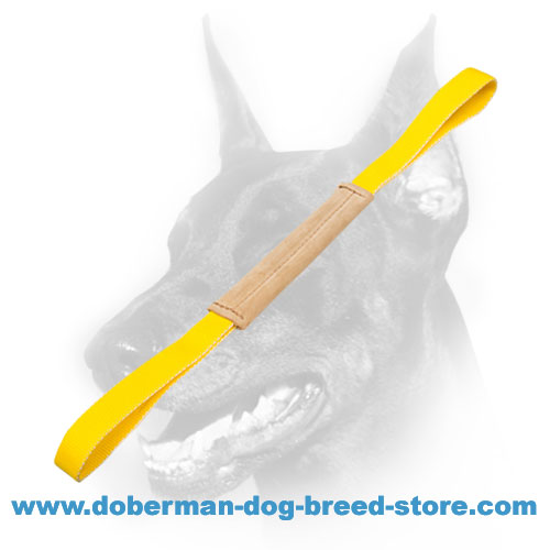 Doberman Dog training tug made of soft and smooth leather
