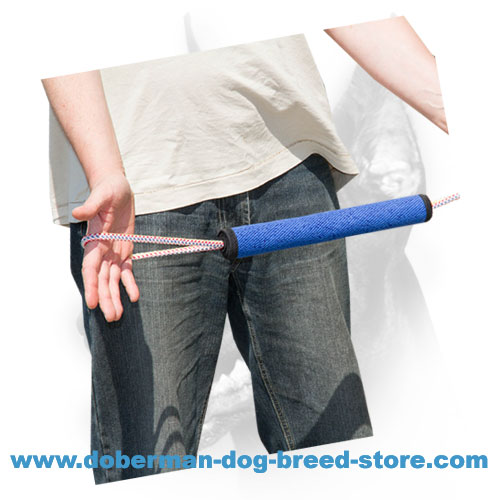 Doberman puppy bite tug made of dog safe materials for bite skills development