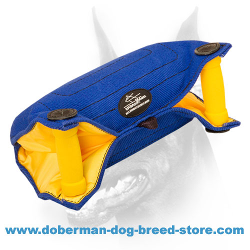 Doberman dog training bite builder with convenient inside handles