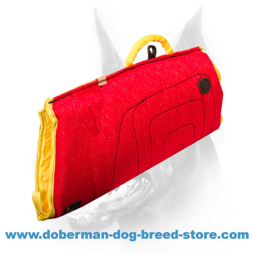 Doberman dog training sleeve with convenient handles