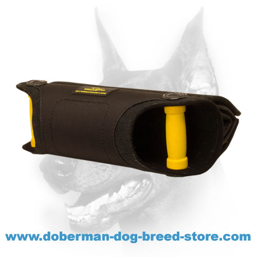 Doberman dog bite sleeve for building better full mouth grip