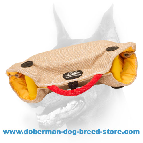 Doberman dog training bite builder with inside and outside handles
