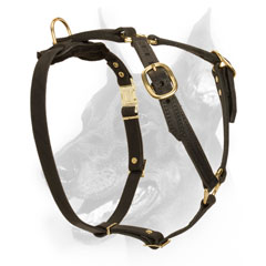 Adjustable strong leather dog harness