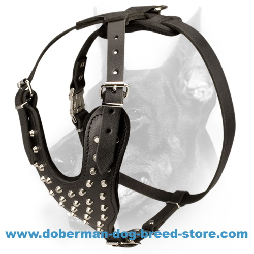 Luxury Studded Leather Dog Harness-Designer Strongest Doberman Harness