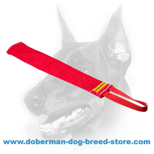 Doberman Dog French Linen Bite Rag with Reliable Handle
