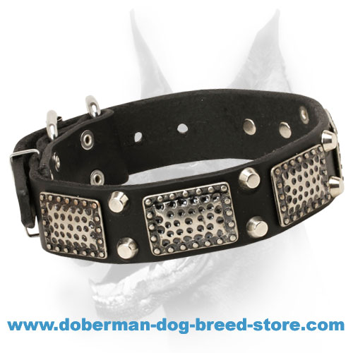 Extra Comfortable Doberman Dog Collar with Metal Plates and Pyramids