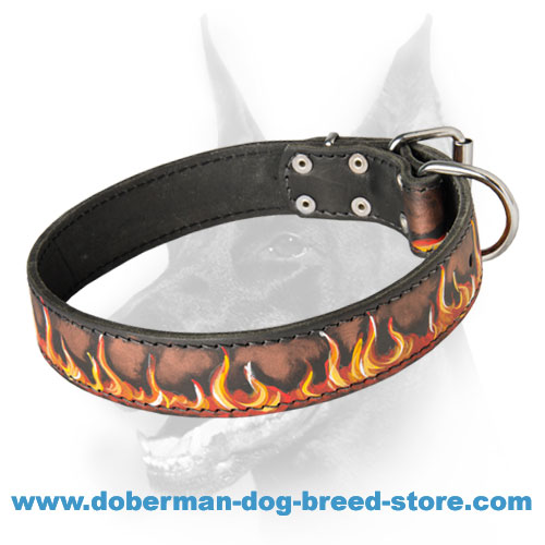 Amazing Leather Collar with Handpainted Fire Flames for Doberman