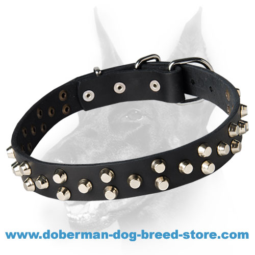 Small pyramids/studs 3 rows leather dog collar for Dobermans