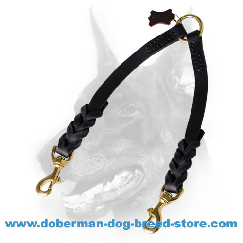 Doberman Dog Braided Leather Coupler Lead Heavy-duty Stitched