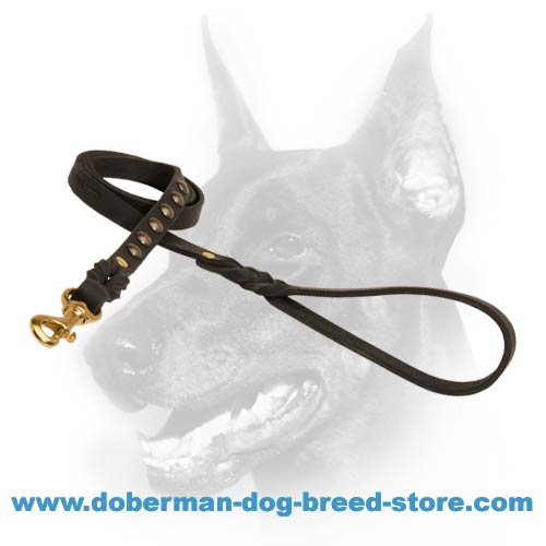 Brand Leather Doberman Leash Decorated with Braids and Studs