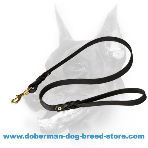 Multipurpose Black Leather Doberman Dog Leash with Brass Snap-hook