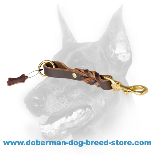 Doberman Dog Short Pull Tab Leash With Extension Option