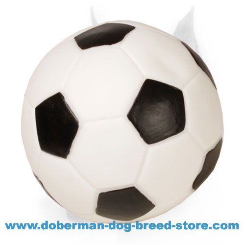 'Sound Soccer' Doberman Rubber Ball with Squeake