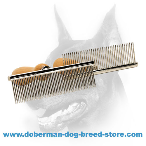 """Hair Designer"" Antistatic Dog Comb with Wooden Handle"