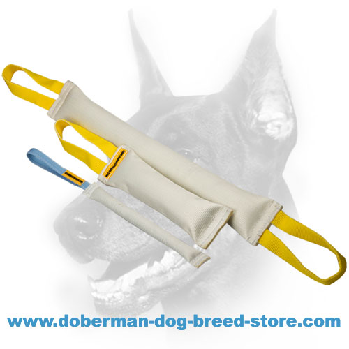 Doberman Dog Set of 2 Reliable Tugs + Pocket-sized Tug as a Gift (value $6.99)