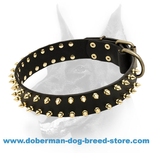 """Unveiled Luxury"" Spiked Leather Doberman Dog Collar"