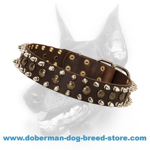 3 Rows Leather Spiked and Studded Dog Collar