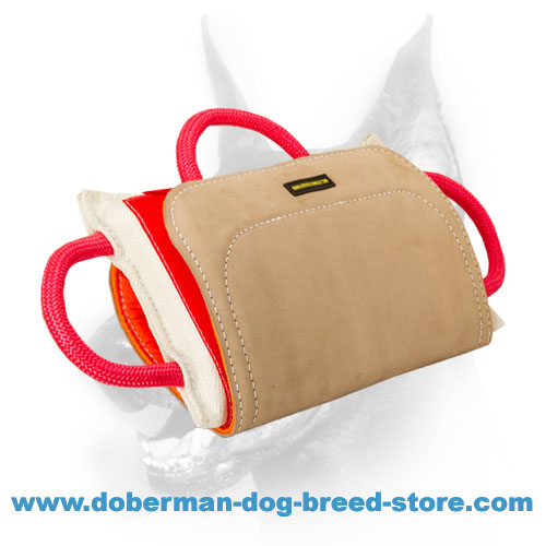 "Doberman Dog ""Pro Bite Pillow"" with Leather Cover"
