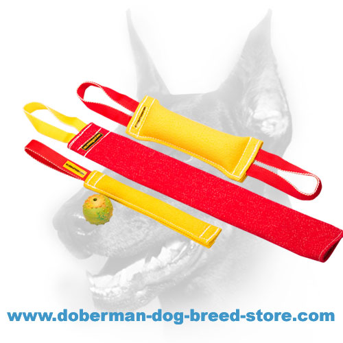 Doberman Puppy Bite Training Set of French Linen Tugs + Rubber Ball with Bell for FREE