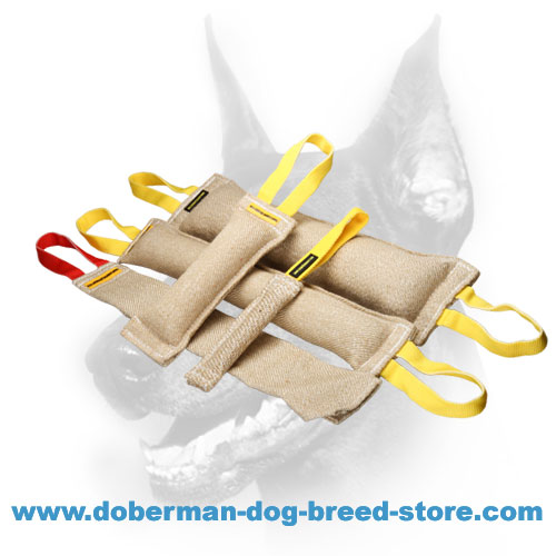 Doberman Dog Jute Training Set of 4 Bite Tugs + Bite Rag for FREE