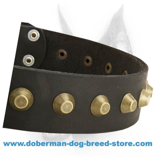 Gorgeous Wide Leather Dog Collar With One Centered Row Of Brass Pyramids