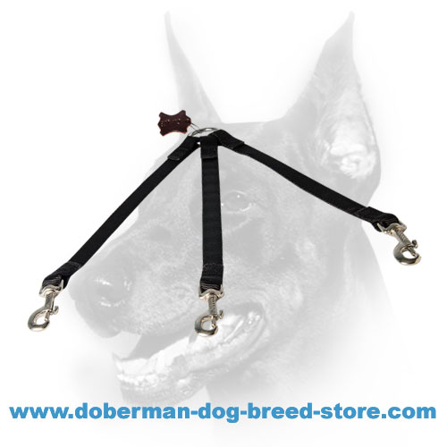 Doberman Dog High-quality Nylon Triple Coupler Leash